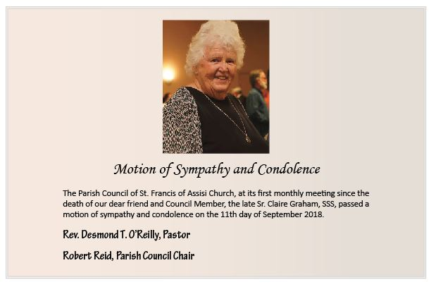 Motion of Sympathy: Sr. Claire Graham, SSS